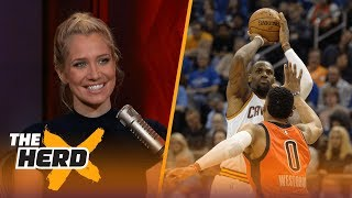 Download Report: LeBron would love to play with Westbrook, Paul George - Kristine and Colin react | THE HERD Video