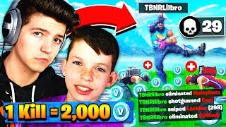 Download 1 KILL = 2,000 *FREE* V-BUCKS! Fortnite: Battle Royale with my Little Brother! Video