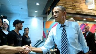 Download Raw Video: President Obama and Vice President Biden at Taylor Gourmet, October 4, 2013 Video