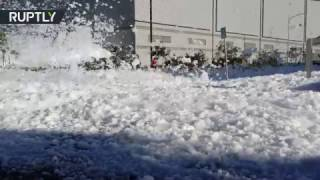 Download 'Foam party' at San Jose airport: Fluffy white piles flood Northern CA neighborhood Video