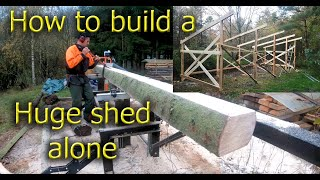 Download How to build a huge shed by yourself. A logging, sawing and building project. Part 1 Video