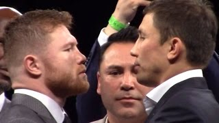 Download CANELO VS. GOLOVKIN FIRST OFFICIAL FACE OFF; INTENSE STAREDOWN Video