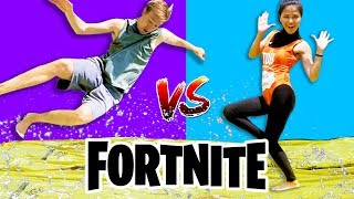 Download WATER SLIDE FORTNITE DANCE YOGA CHALLENGE IN REAL LIFE (All New Dances) vs Chad Wild Clay Video