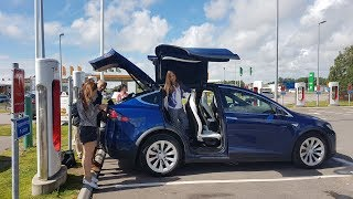 Download Tesla destination chargers on family vacation Video