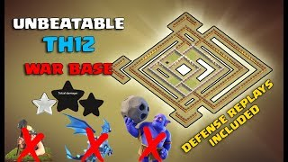clash of clans,TH 12 war base 2019,4 with replays Free