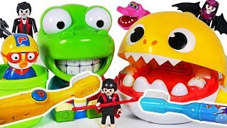 Download Baby Shark and Crong Tooth brush toys! Pororo! Defeat Sugar Bugs! #PinkyPopTOY Video