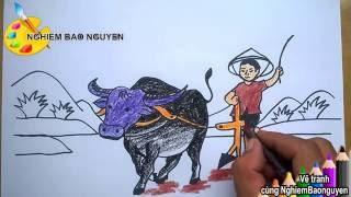 Download Vẽ tranh Bác nông dân cày ruộng/How to Draw farmer plowing Video