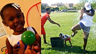 Download EXTREME FAMILY WATER BALLOON FIGHT GONE WRONG! MOMMY VS DAUGHTER INDOOR BASKETBALL SHOOTOUT! 💦🏀 Video