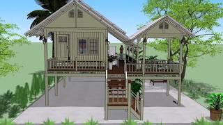 Download บ้านไม้ในสวน ยกพื้นสูง ( No. 016 ) Sketchup by : i. pakdee Video