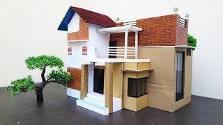 Building Cardboard Mansion House - DIY Popsicle Stick House