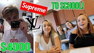 Download WEARING A CRAZY OUTFIT ON MY FIRST DAY OF SCHOOL!! (Supreme, Louis Vuitton, Gucci) Video