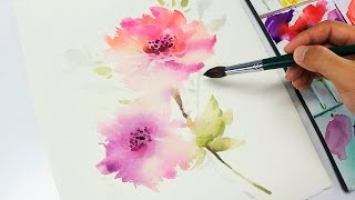 Download [LVL3] Watercolor flower painting wet into wet Video