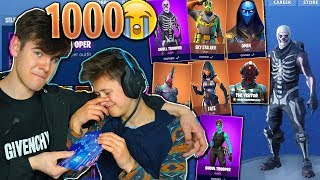 Download SURPRISING MY LITTLE BROTHER WITH 1000 FORTNITE SKINS... (EMOTIONAL) Video