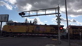 Download UP 6499 Grain Train South, 14th Ave. Railroad Crossing, Sacramento CA Video