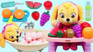 Download Paw Patrol Pup Baby Skye Morning Routine of Bath Time and Toy Fruit Breakfast! Video