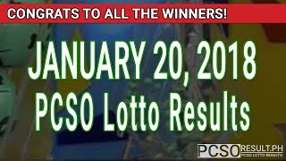 Download PCSO Lotto Results Today January 20, 2018 (6/55, 6/42, 6D, Swertres, STL & EZ2) Video