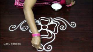 Download simple free hand rangoli designs with side borders || freehand kolam designs || muggulu side designs Video