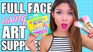 Download FULL FACE USING ONLY Art Supplies Challenge! Video