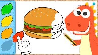 Download Aprende a colorear una Hamburguesa con Eddie | Eddie: el dinosaurio colorea una Hamburguesa y Salsas Video