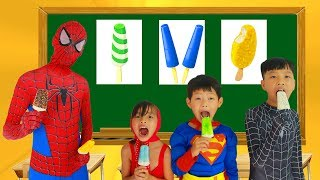 Download School colors Spiderman tripped in Classroom Masha Eat ice cream w/ Elsa Paint Banana Learn Color Video