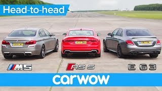 Download Mercedes-AMG E63 S v BMW M5 v Audi RS 5 DRAG & ROLLING RACE | Head2Head Video
