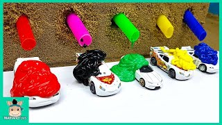 Download Tayo Bus Car Toy Change Learn Colors With Rainbow Paint for Kids Nursery Rhymes Song | MariAndToys Video