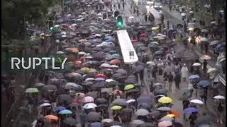 Download LIVE: Protesters march across Hong Kong Video
