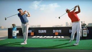 Download Sergio Garcia and Anirban Lahiri practice 600m golf drives at Skydive Dubai - Visit Dubai Video