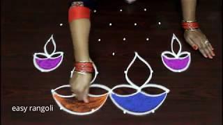 Download Colorful rangoli and kolam designs for Diwali 2018 || Deepam muggulu Video