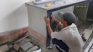 Download Nhà cấp 4 Xem Thợ Nhà Quê Trang Trí Đá Hoa Cương Tường Đứng Nhà Bếp (TC) Video