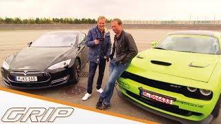Download Benziner-Elektro-Battle: Dodge Challenger Hellcat vs. Tesla Model S - GRIP - Folge 324 - RTL2 Video
