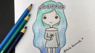 Download Como desenhar Bonequinha Tumblr com Coroa de Flores Video