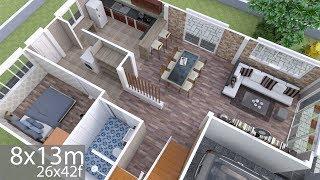 Download Plan 3D Interior Design Home Plan 8x13m Full Plan 3Beds Video