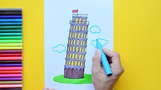Download How to draw and color the Leaning Tower of Pisa Video