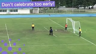 Download BALL BOUNCES INTO NET WHILE GOALKEEPER CELEBRATES PENALTY 'MISS' Video