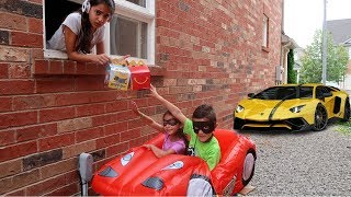 Download McDonald's drive thru prank funny kids on disney cars mcQueen power wheels ride on car Video