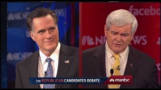 Download Mitt Romney Hit From Both Sides By Rick Santorum and Newt Gingrich at Presidential Debate Video