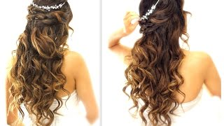 Download ★ EASY Wedding Half-Updo HAIRSTYLE with CURLS | Bridal Hairstyles for Long Medium Hair Video