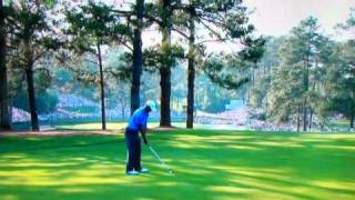 Download Tiger Woods unreal hook shot on hole 15 3rd round 2011 Masters. Video