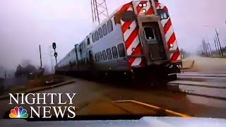Download Video Shows Scary Close-Call Between Train And Police Vehicle | NBC Nightly News Video