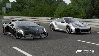 Download Forza 7 Drag race: Lamborghini Veneno vs Porsche 911 GT2 RS (2018) Video