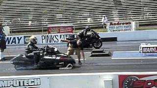 Download Snowmobile vs Hayabusa drag race Video