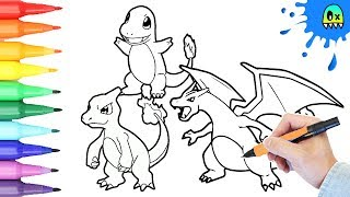 Download Pokémon Coloring book pages speed coloring for kids Charmander Charmeleon and Charizard Video