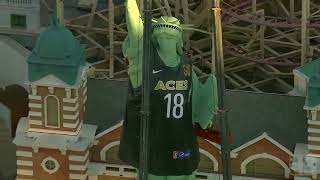 Download New York-New York's Lady Liberty wears Las Vegas Aces jersey Video
