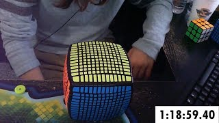Download 13x13 Rubik's Cube Solved in 1:18:59.40 (Timelapse) Video