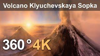 Download 360°, Eruption of Volcano Klyuchevskaya Sopka, Kamchatka, Russia. 4K aerial video Video