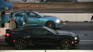 Download Upss! He didn't see it coming -2017 Camaro SS vs Scat Pack Charger drag race Video