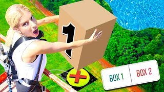 Download DONT Drop the Wrong MYSTERY BOX onto the Giant WATER BALLOON from 45FT! (you decide) Video
