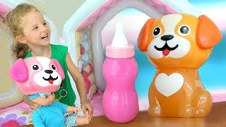 Download Milana plays and Funny Doll and mixed colors for children Video