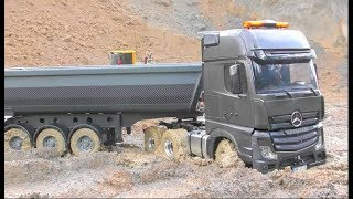 Download RC Heavy Construction Site! RC Mercedes-Benz stuck in the mud! Rc Live Action Video